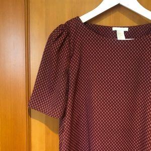 Patterned burgundy blouse